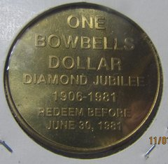 Bowbells ND 1981 Diamond Jubilee One Dollar