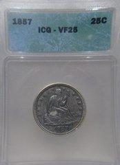 1853 Seated Liberty 25c ICG-VF25