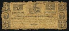 1837 $3 Monroe RR & Banking Co, Macon, GA vscarce