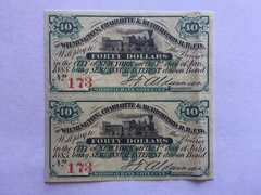 1875 Wilmington, Charlotte and Rutherford Railroad Company $40 Bond Interest Coupons