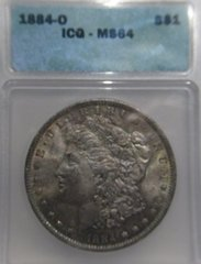 1884-0 Morgan Dollar ICG-MS64 beautiful toning