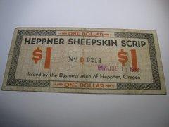 1933 $1 OR Heppner Sheepskin Scrip stamp xcel