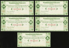 1933 25&50C, $1,5 and $10 Washington Country Scrip