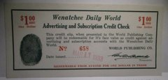 1933 $1 Wenatchee Daily World credit for advertising/subscription