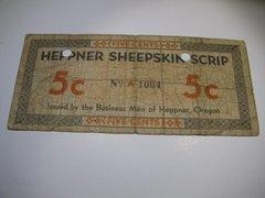 1933 5c OR Heppner Sheepskin Scrip