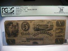 1836 $5 Bank of Wisconsin, Green Bay