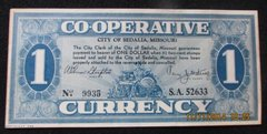 1933 $1 Cooperative Currency, Sedalia, MO Crisp XF45