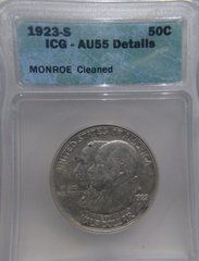 1923S Monroe Doctrine Centennial 50c, IGC-AU55 Details Cleaned sold