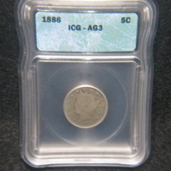 1886 Liberty 5c ICG-AG3, key date