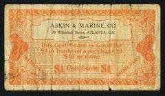 1920-30s $1 Askin & Marine-Atlanta