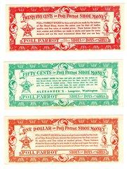 1920-30s Longview, WA ALEXANDERS Poll Parrot Shoe Money lot $10 $5 $2 $1,50c, 25c RARE vintage