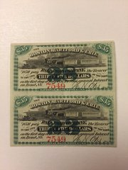1867 Boston, Hartford & Erie Railroad Company $35 Bond Interest Coupons