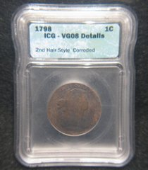 1798 Large Cent, 2nd Hair Style ICG-VG08, details