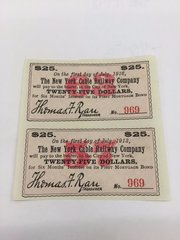 1884 New York Cable Railway Company $25 Bond Interest Coupons