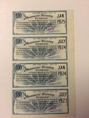 1903 Consumers Brewing Company $10 Bond Coupons Scrip Block of 4 Type 1 Blue