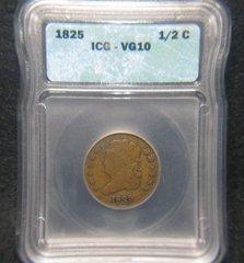 1825 1/2 Cent, ICG-VG10