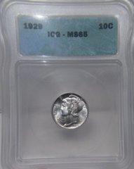 1929 Mercury 10C ICG MS65