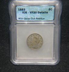 "1883 Liberty 5c ""with cents"" ICG-VF35, Details Glue Residue"
