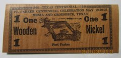 1936 Texas Centennial, Ft. Parker One Wooden Nickel