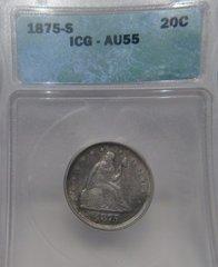 1875S Seated Liberty 20c ICG-AU55