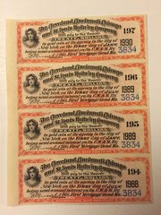 1891 Cleveland, Cincinnati Chicago & St Louis RWY $20 Bond Coupons Scrip 4 pcs.