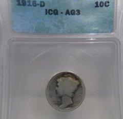 1916D Mercury 10c ICG-AG3