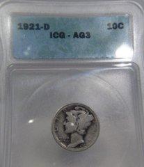 1921D Mercury 10c ICG-AG3