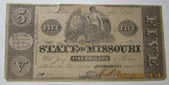 1862 $5 State of Missouri Jefferson City
