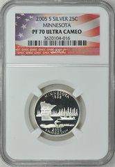 """2005-S Minnesota 25c NGC PF70 Ultra Cameo """"Land of 10,000 Lakes"""""""