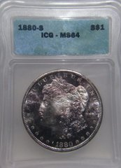 1880S Morgan Dollar, ICG MS64