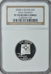 "2008-S New Mexico 25c NGC PF70 Ultra Cameo ""Land of Enchantment"""
