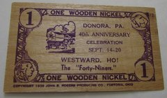 1941 Donora, PA 40th Anniversary 1WN scarcer slat