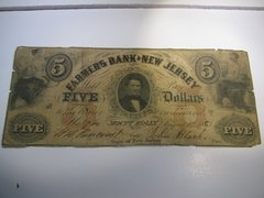 1863 $5 Farmers Bank of NJ, Mount Holly R6