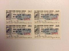 1965 Pennsylvania Railroad Company $12.50 Bond Interest Coupons