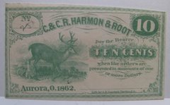 1862 10c C&CR Harmon & Root Aurora, OH very scarce
