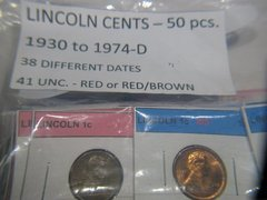 Lincoln Cents-50-1930 to 1974D 38 different 41 Unc Red, R/B