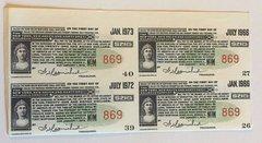 1953 New York New Haven & Hartford Railroad $21.25 Bond Coupons Block of 4 pcs.