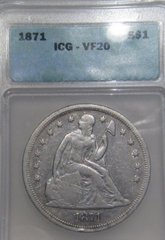 1871 Seated Liberty $ ICG-VF20 SOLD