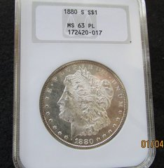 1880S Morgan Dollar, NGC63 ProofLike