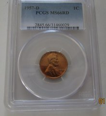 1957D Gem NGC MS66 Red..MS67 is $1000 coin