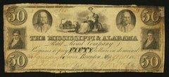 1838 $50 Mississippi & Alabama Railroad Co