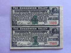 1906 Snohomish Valley Railway Company $25 Bond Interest Coupons