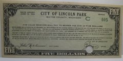1934 $5 City of Lincoln Park