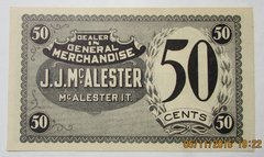 1890s JJ McAlester 50c Scarce OK Indian Territory Issue