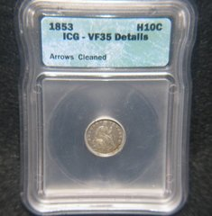 1853 Arrows Seated Liberty H10c ICG-VF35 details, Cleaned