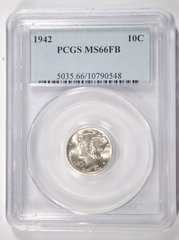 1942 Mercury 10c PCGS MS66FB Gem
