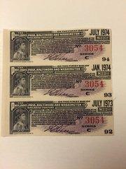 1924 Philadelphia, Baltimore and Washington Railroad Company $22.50 Bond Interest Coupons