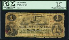 1875 $1 City of Kansas (MO), PCGS VG10 apparent, very scarce