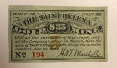 1881 Saint Helena Gold Mine $35 Bond Coupon RARE Helena, MT