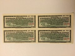 1916 Wisconsin Interurban System $2.75 Bond Interest Coupons in Gold